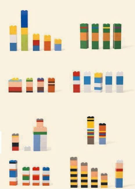 Minimalist Lego cartoon figures